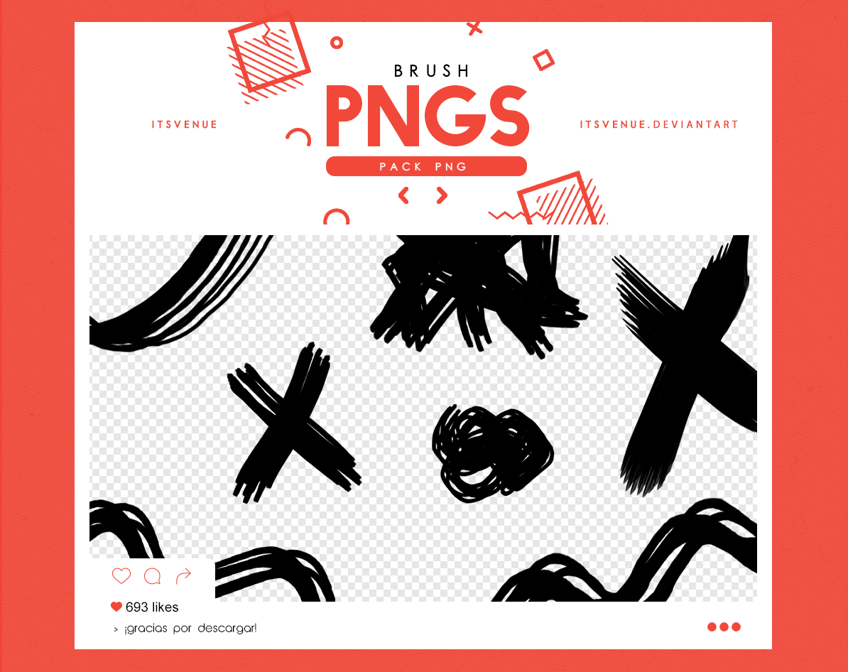 水彩笔、颜料刷子涂痕Photoshop笔刷素材(PNG图片格式)