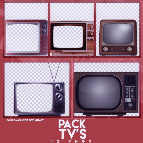 复古电视机、老式型号黑白电视机背景图PS笔刷素材(PNG图片格式)