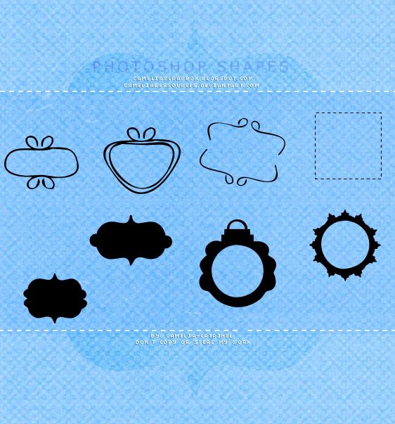 各种标签边框图形photoshop自定义形状素材 .csh 下载