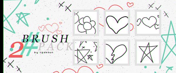 手绘五角星、爱心、鲜花图案PS笔刷素材