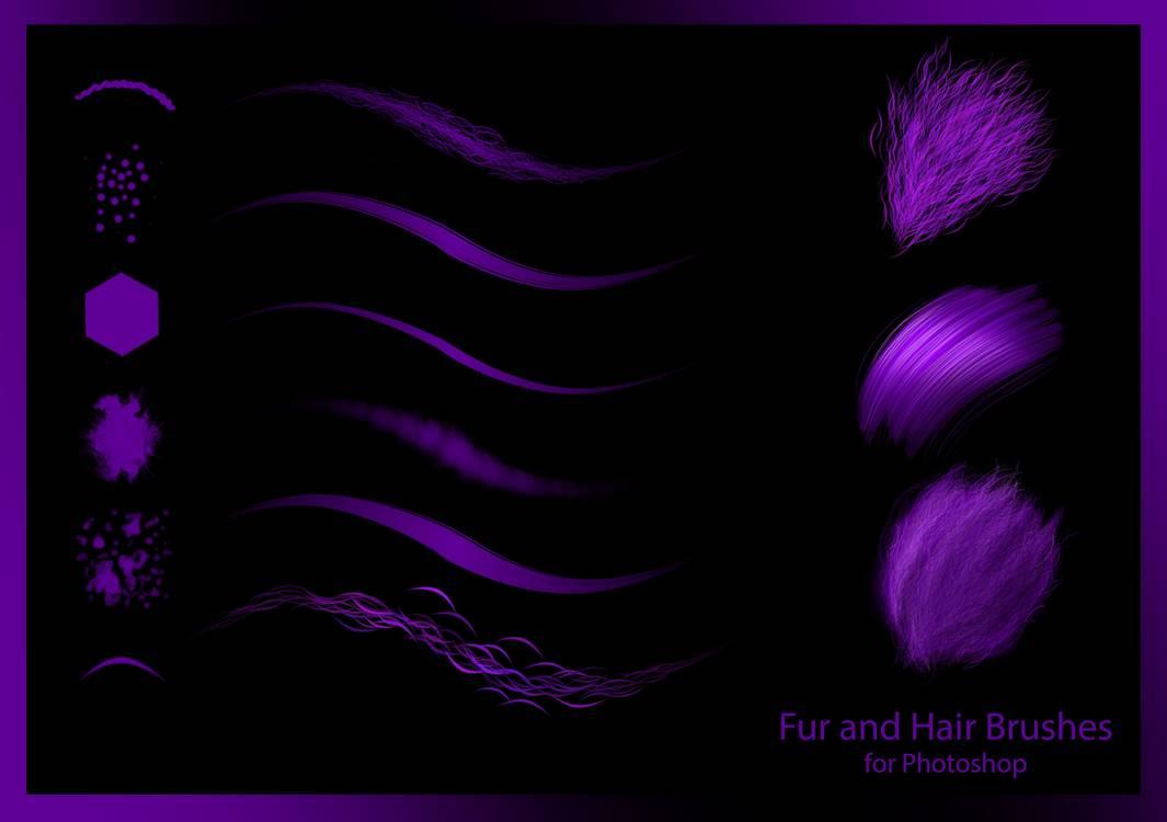 动物绒毛、毛发、发丝材质笔触Photoshop笔刷素材