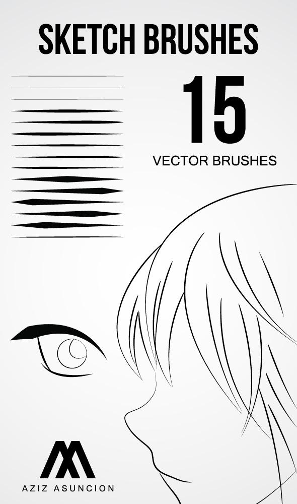 15种线条勾勒画笔Ai笔刷素材