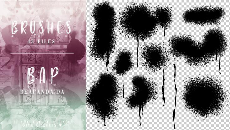 喷漆效果、油漆喷溅纹理PS笔刷素材