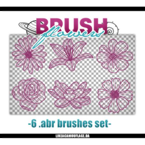 手绘6种鲜花花朵图案PS笔刷素材
