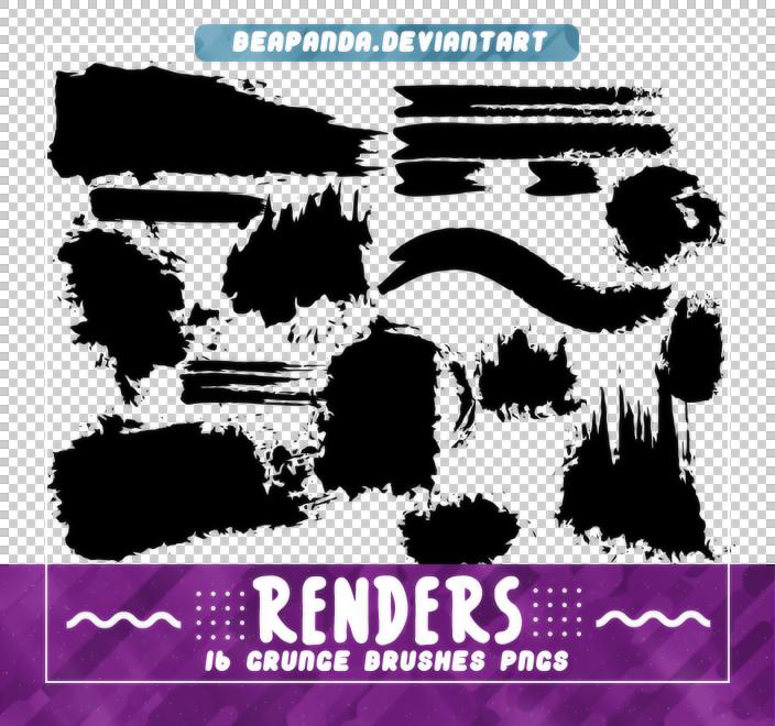 毛笔油漆刷子蘸点纹理PS笔刷素材(PNG)