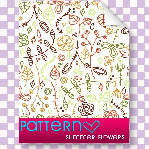 手绘小清新植物叶子、花朵纹理PS填充素材
