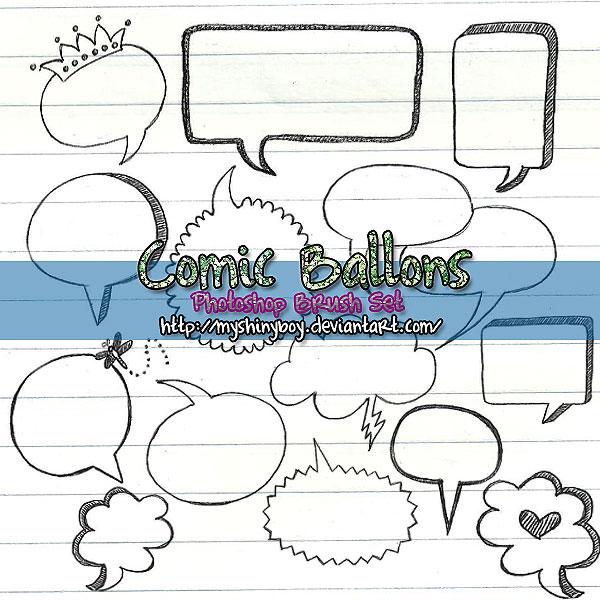 手绘气泡框、对话框背景PS笔刷