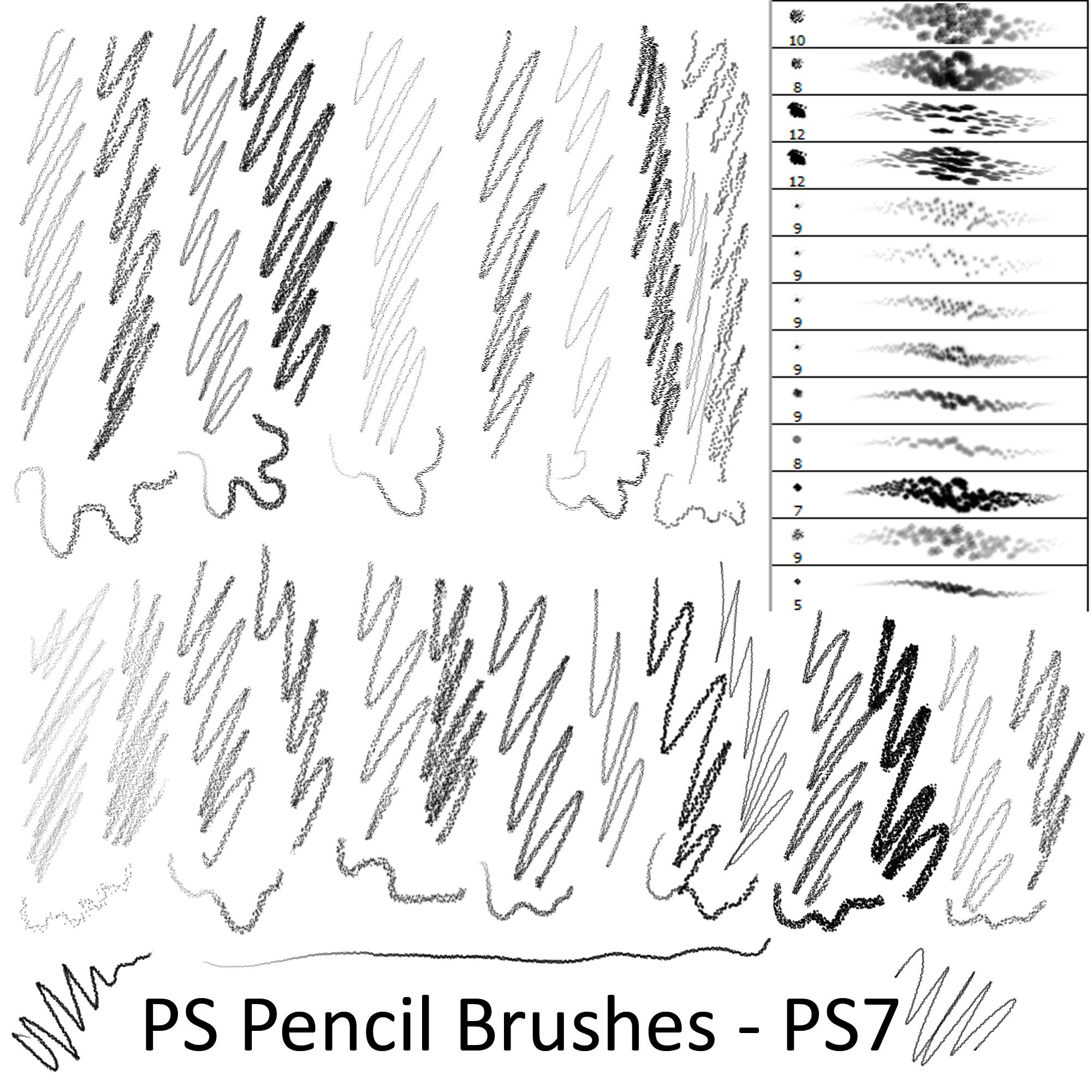 各种铅笔笔触效果PS笔刷素材