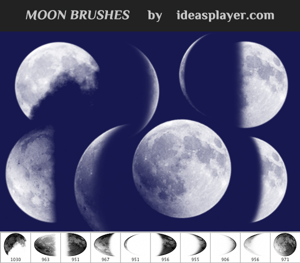 月球、月亮、满月、新月、上弦月PS笔刷
