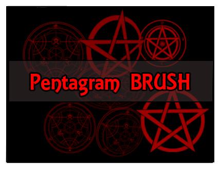 神秘五角魔法阵、五芒星阵图案PS笔刷素材