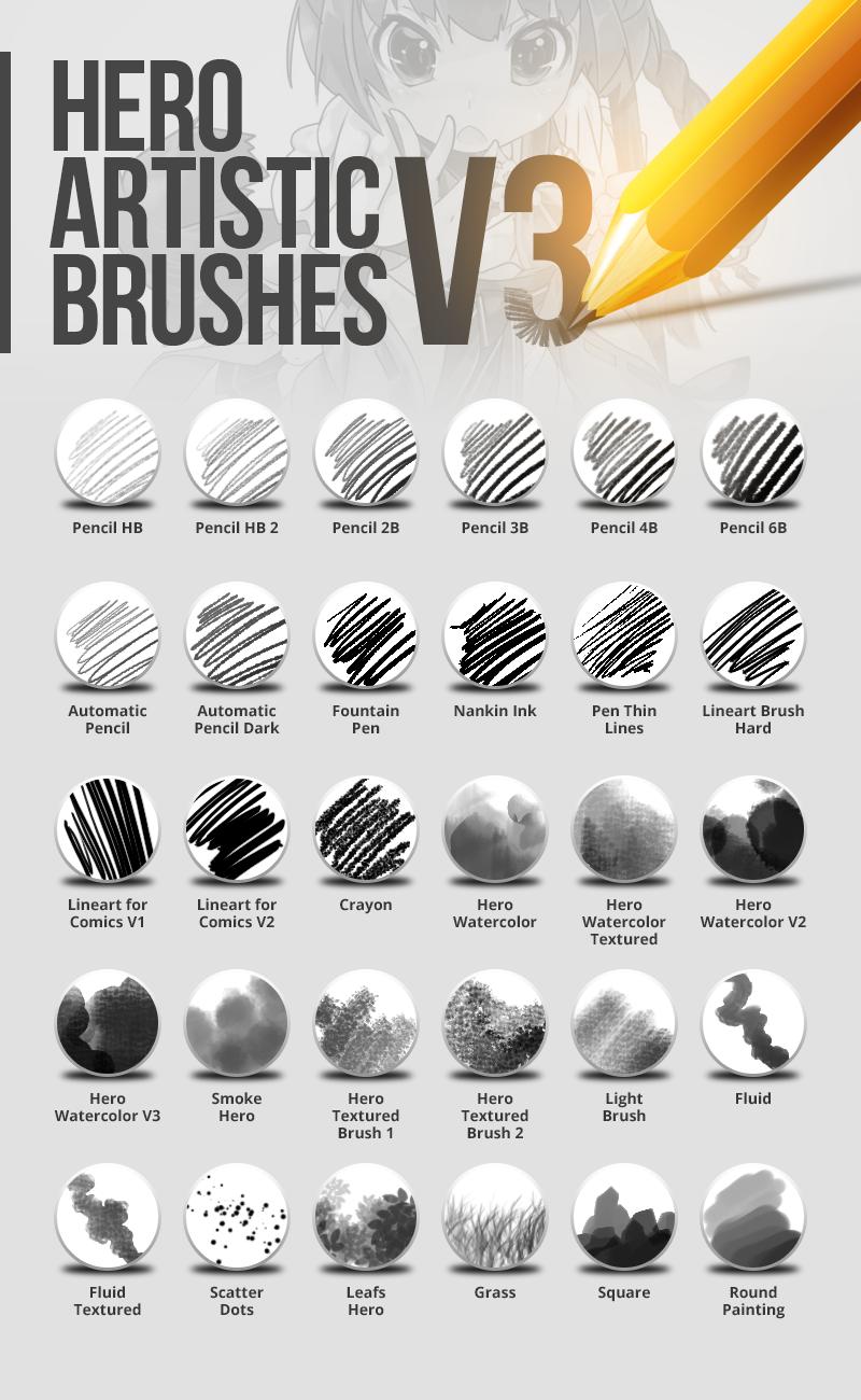 木炭、蜡笔、铅笔、墨水、水墨、叶子、青草等混合PS笔刷素材