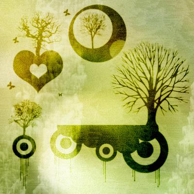 非主流爱心树木、同心圆元素大树PS笔刷