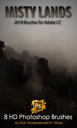 迷雾、山间夜雾、朦胧背景Photoshop CC笔刷