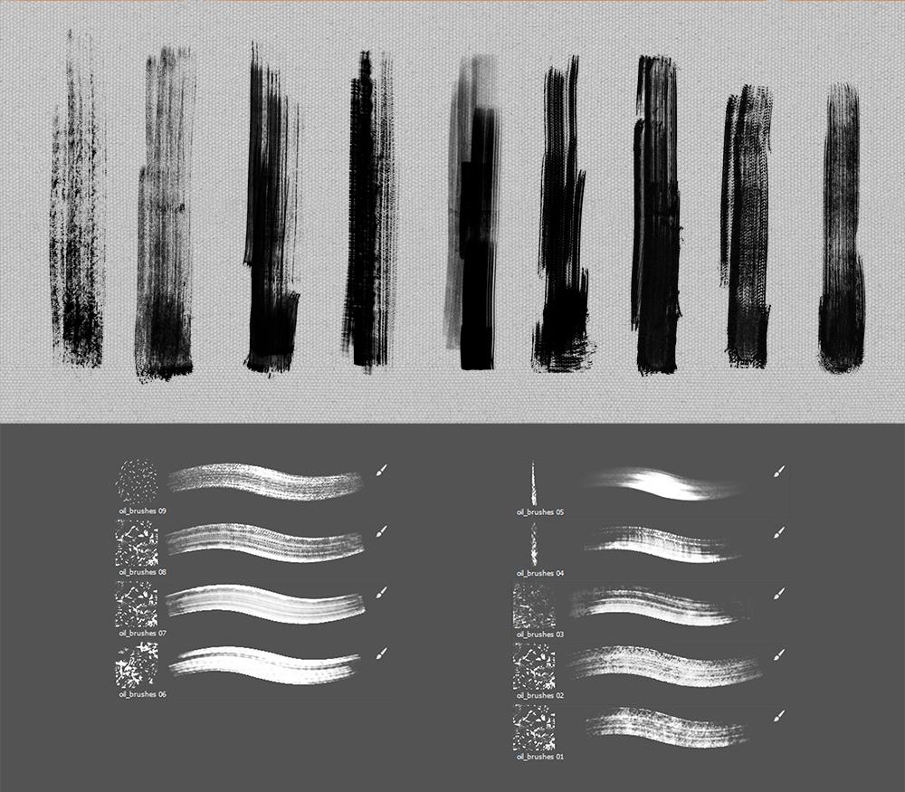 干燥类型的油漆、油墨画笔笔触PS笔刷