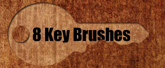 8种钥匙形状PS笔刷