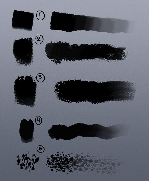 5种水墨、水彩笔触风格PS笔刷素材