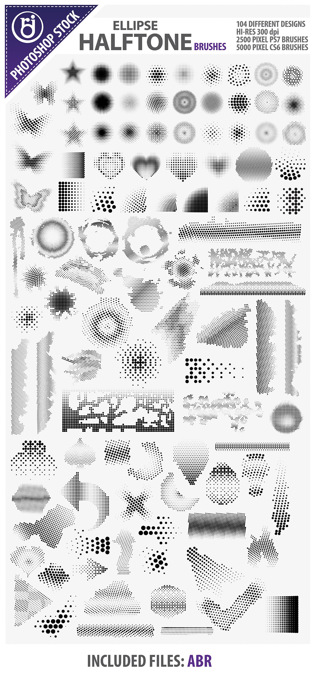 复眼风格的箭头、打勾、爱心、五角星、蝴蝶等几何图形PS笔刷