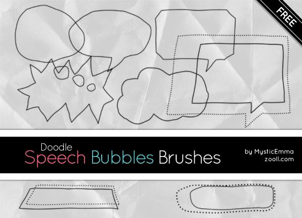 手绘线框气泡框、对话框PS笔刷