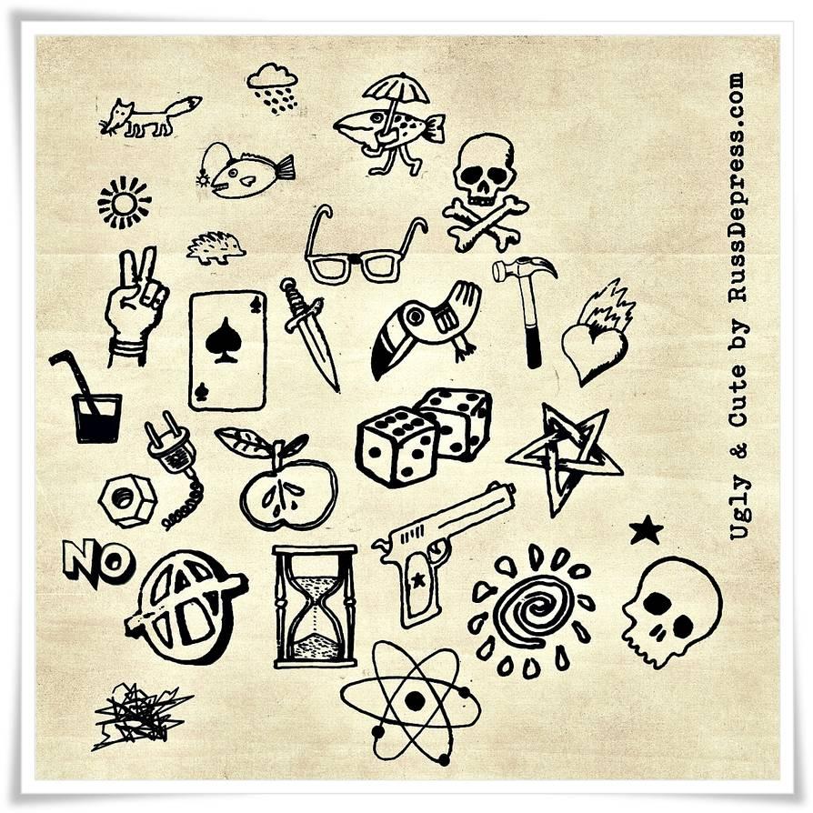 28种涂鸦元素PS笔刷