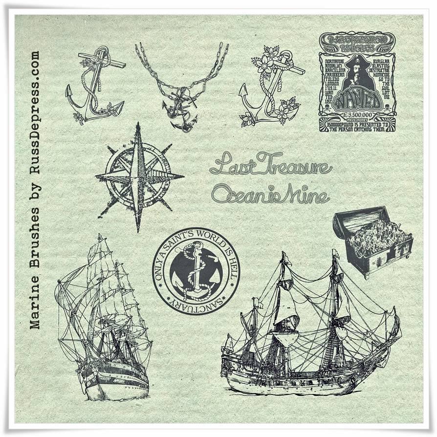 手绘海盗船、船锚、加勒比海盗元素PS笔刷