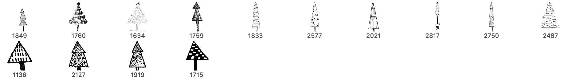 可爱涂鸦手绘圣诞节树木装饰PS笔刷
