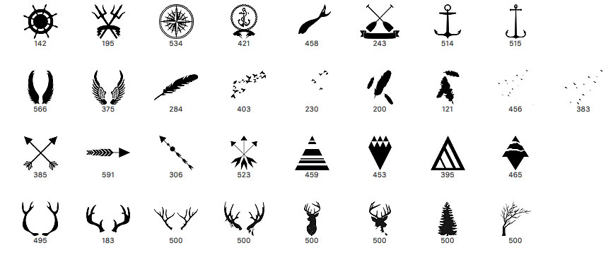 指南针、天使翅膀徽章、船桨标志、船锚图案、箭头标记、羽毛等等PS元素笔刷