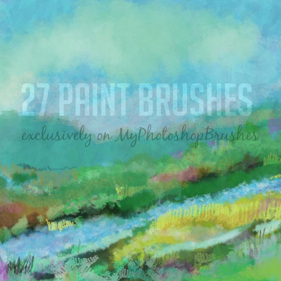 27种免费水彩、颜料画笔PS笔刷