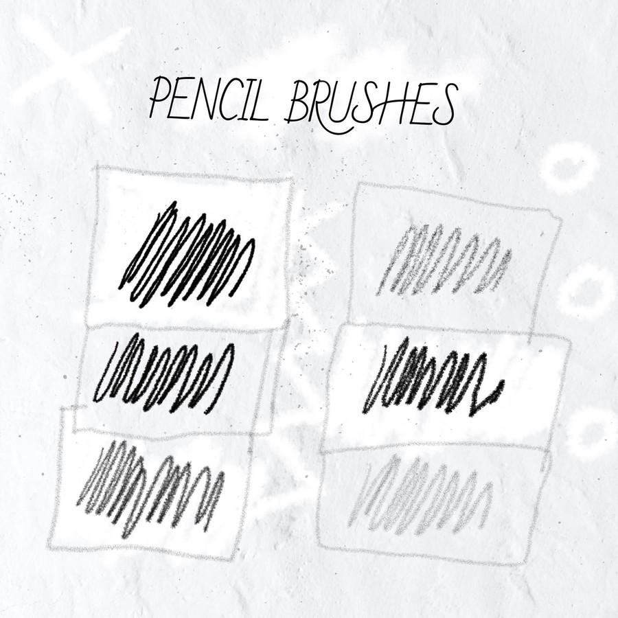 蜡笔、粉笔、铅笔笔触PS笔刷