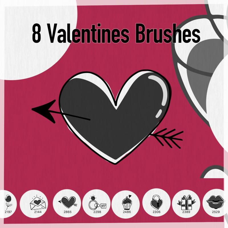 爱心、情书、钻戒、红唇等情人节恋爱涂鸦PS笔刷素材