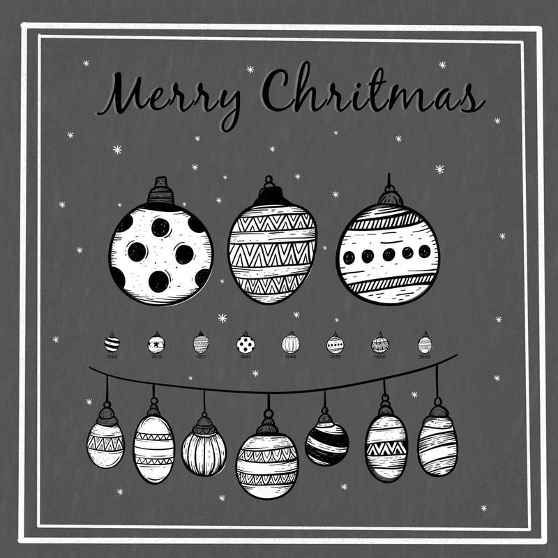 9种圣诞节挂饰、圣诞节元素图案PS笔刷
