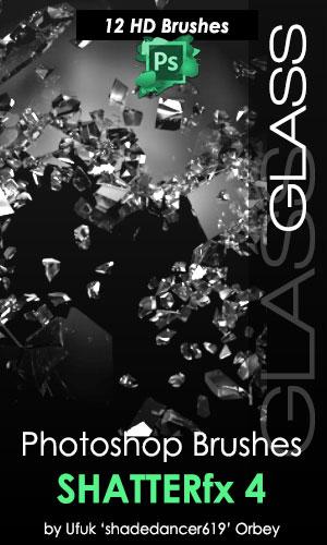 玻璃粉碎、碎渣、破碎、晶体碎裂PS笔刷
