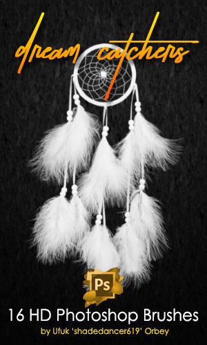 16种高清印第安羽毛挂饰PS笔刷素材