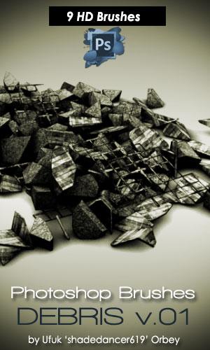 9种3D石堆、废墟背景、建筑垃圾、断壁残垣PS笔刷