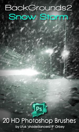 20种暴风雪场景、雪天、下雪背景PS笔刷