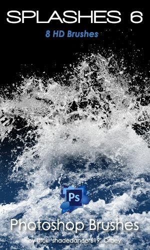 8种高清水花、溅水、水浪纹理PS笔刷