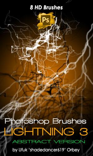 8种高清闪电、连环闪电、电弧图案PS笔刷
