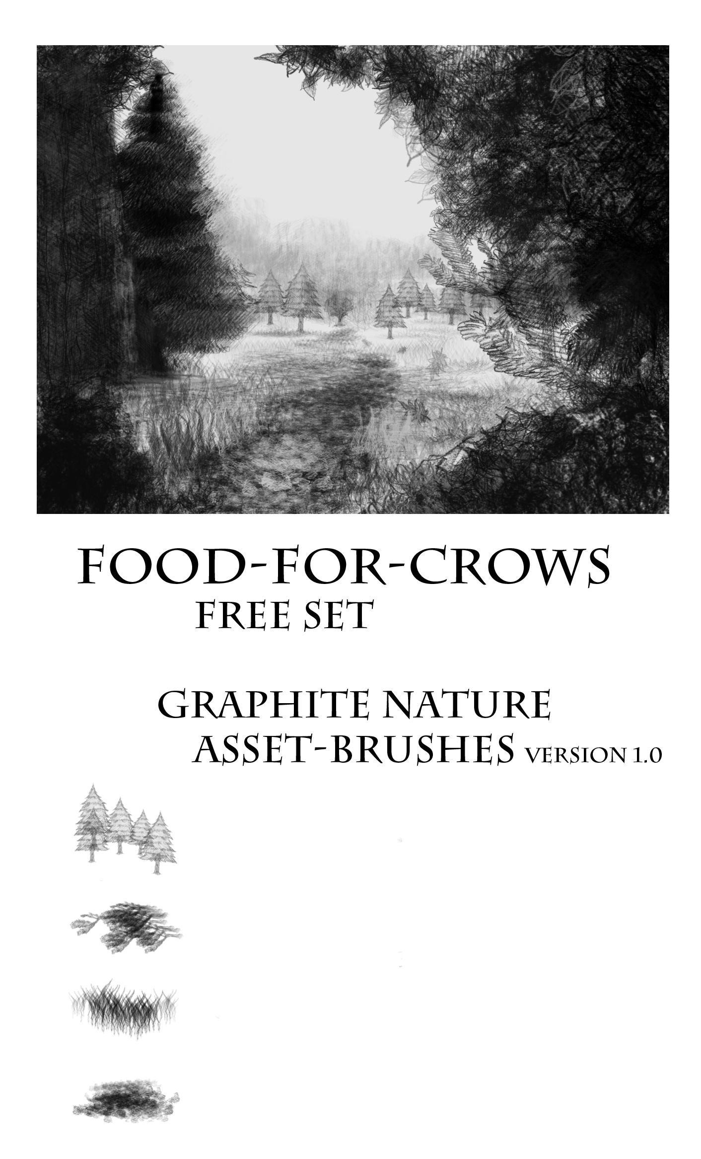 素描式大树、青草、草地纹理PS绘画笔刷