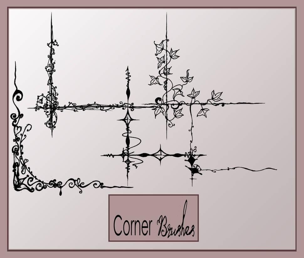 铁艺风格的边角花纹装饰PS笔刷