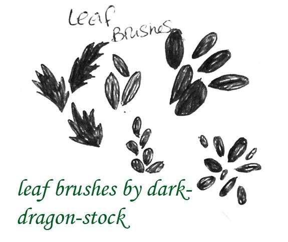 手绘树叶、叶子、野草PS笔刷素材
