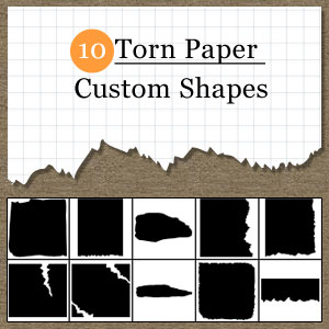 10种破碎撕纸纹理photoshop自定义形状素材 .csh 下载