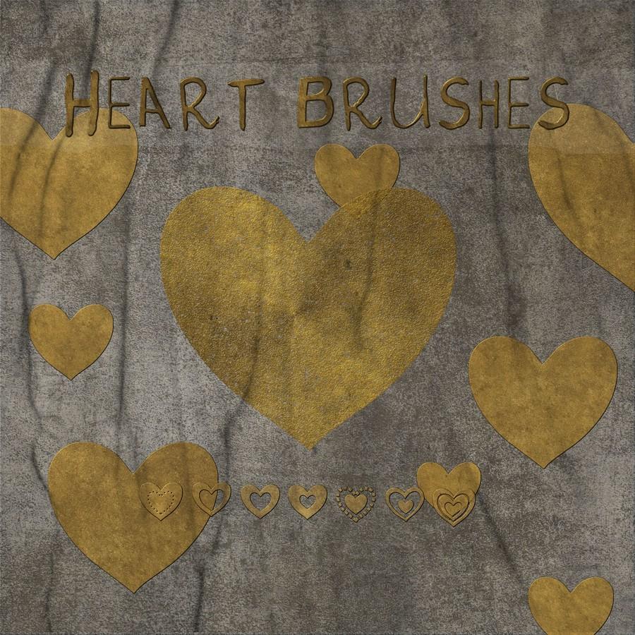 各种心形图案、爱心标记印记PS笔刷素材