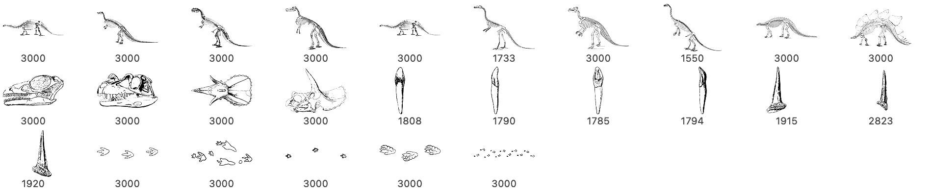 手绘恐龙化石、侏罗纪恐龙骨骼图案PS笔刷