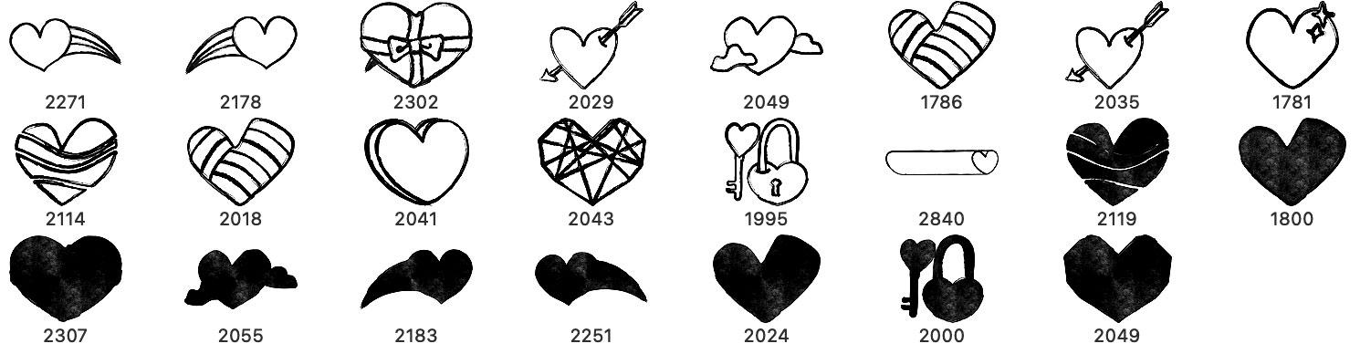 23种手绘涂鸦爱心图形装扮PS笔刷素材