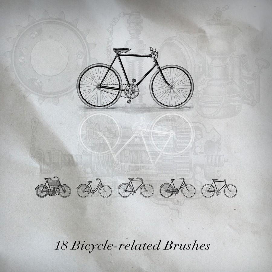 手绘自行车、机械配件等造型PS笔刷素材