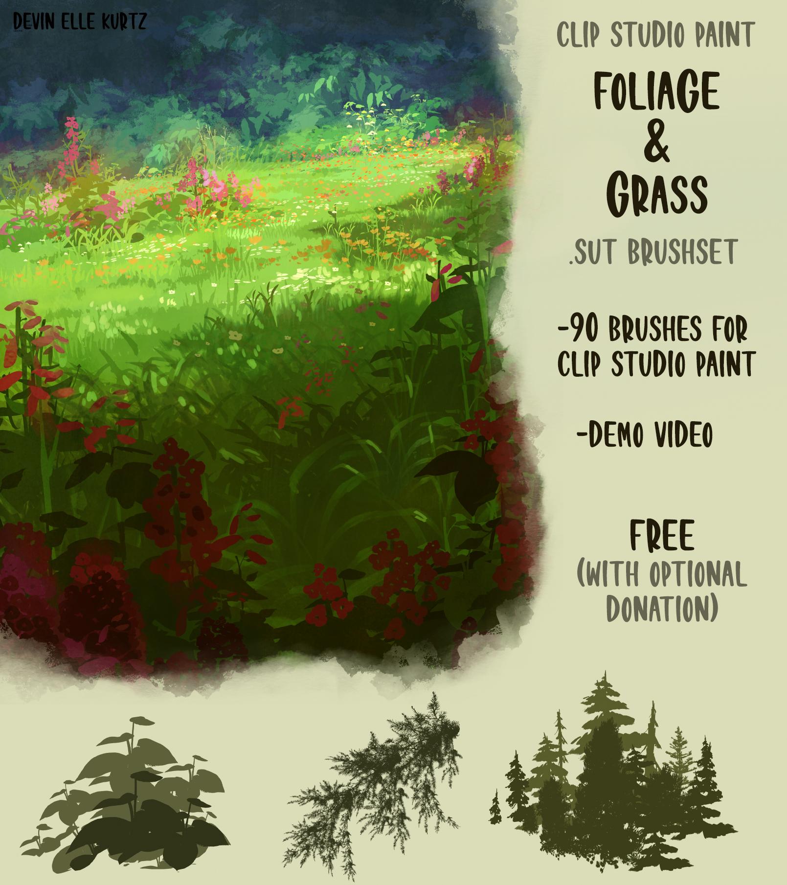 高品质草和树叶笔刷套装 -  Clip Studio Paint  素材