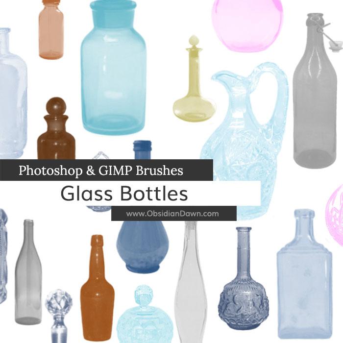 美丽的空瓶子、玻璃酒瓶PS笔刷素材下载