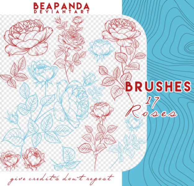 17种盛开的玫瑰花印花图案PS笔刷素材
