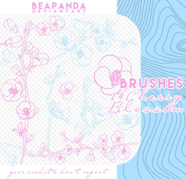 14种桃花花枝印花图案PS笔刷素材免费下载