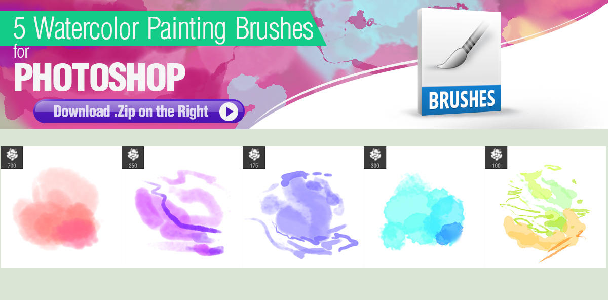 5种水彩效果笔触PS笔刷素材