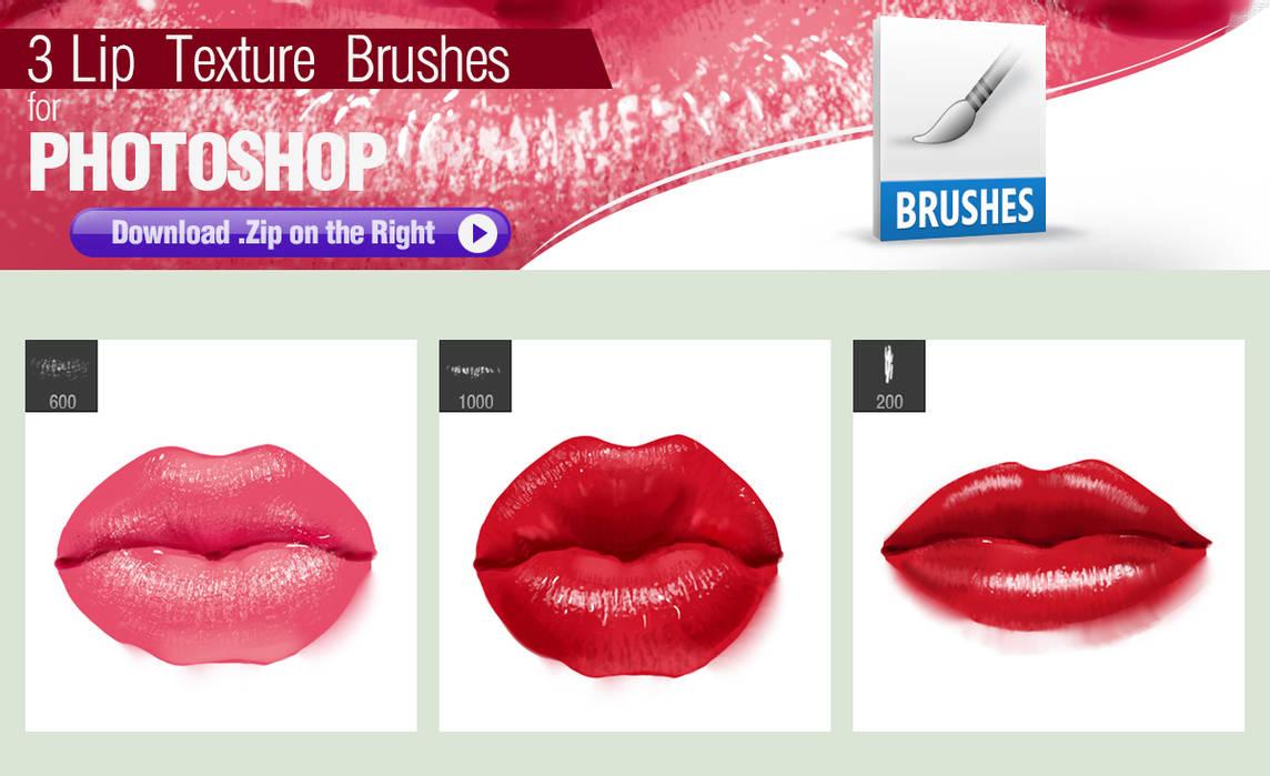3种性感的嘴唇纹理、唇印效果PS笔刷素材